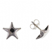 9ct white gold star stud earrings